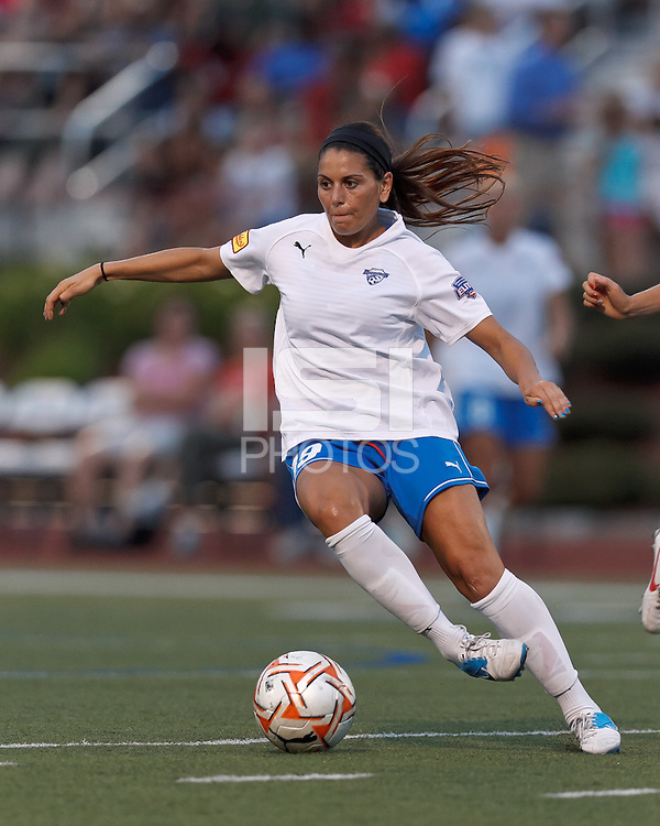 Boston Breakers defender Bianca D'Agostino (19) dribbles at midfield. In a Women's Premier Soccer League Elite (WPSL) match, the Boston Breakers defeated ASA Chesapeake Charge, 3-1, at Dilboy Stadium on July 6, 2012.