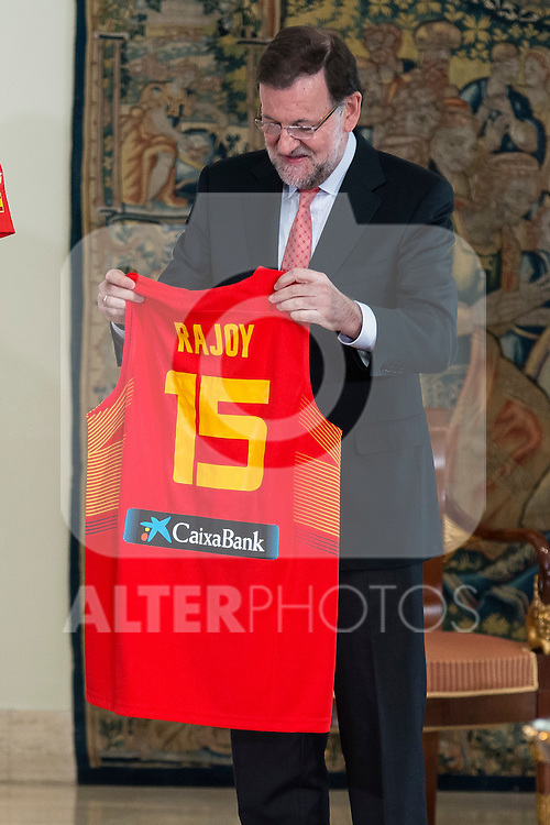 The reception of Prime Minister Mariano Rajoy to Spain national basketball team gold at EuroBasket 2015 at Moncloa Palace in Madrid, 21 September, 2015.<br /> Prime Minister Mariano Rajoy with shirt with the number of Mariano Rajoy.<br /> (ALTERPHOTOS/BorjaB.Hojas)