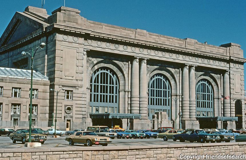 Kansas City:  Union Station, a railroad station opened in 1914.   Beaux Art design by Jarvis Hunt . Was closed in 1988 and renovated in 1999. Listed on National Register of Historic Places ,