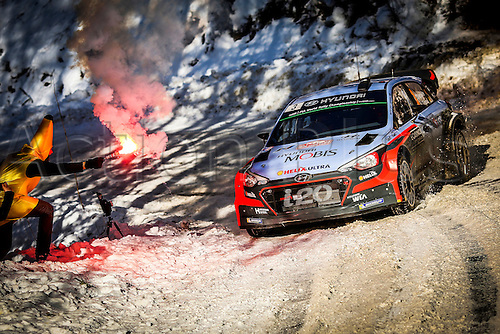 21.01.2016. Monte Carlo, Monaco. The Monte Carlo Rally 2016. The cars takes to the course.   Thierry Neuville (BEL)- Nicolas Gilsoul (BEL)- Hyundai I20 WRC