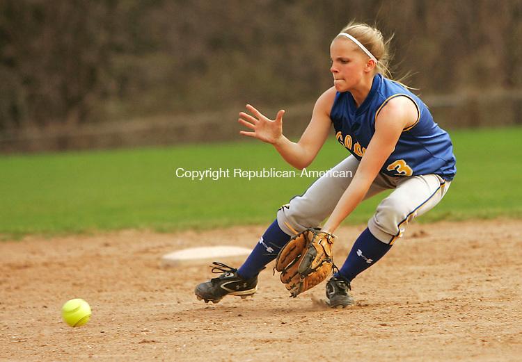 WATERTOWN, CT 4/23/07- 042307BZ08- Seymour's Brittany Wyskiel (3) gets ready to field a ball against Watertown.<br /> Jamison C. Bazinet Republican-American