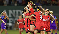 Portland, Oregon - Sunday April 17, 2016: Portland Thorns FC midfielder Lindsey Horan (7) celebrates with teammates. The Portland Thorns play the Orlando Pride during a regular season NWSL match at Providence Park. The Thorns won 2-1.
