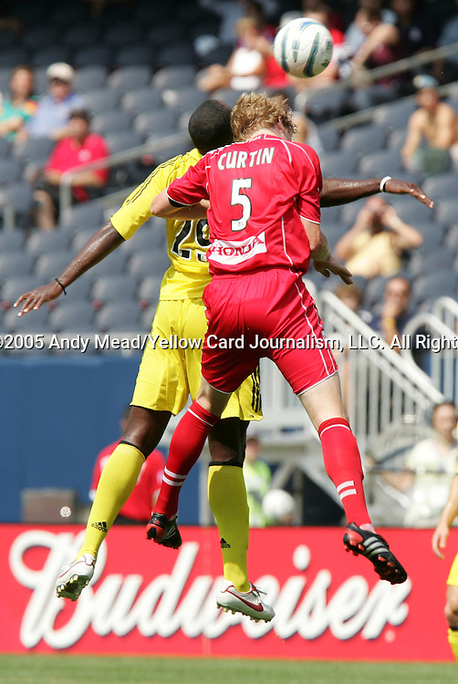 16 July 2005: Jim Curtin (5) and Knox Cameron (29) challenge for a header. The Chicago Fire and Columbus Crew tied 1-1 at Soldier Field in Chicago, Illinois in a regular season Major League Soccer game. .