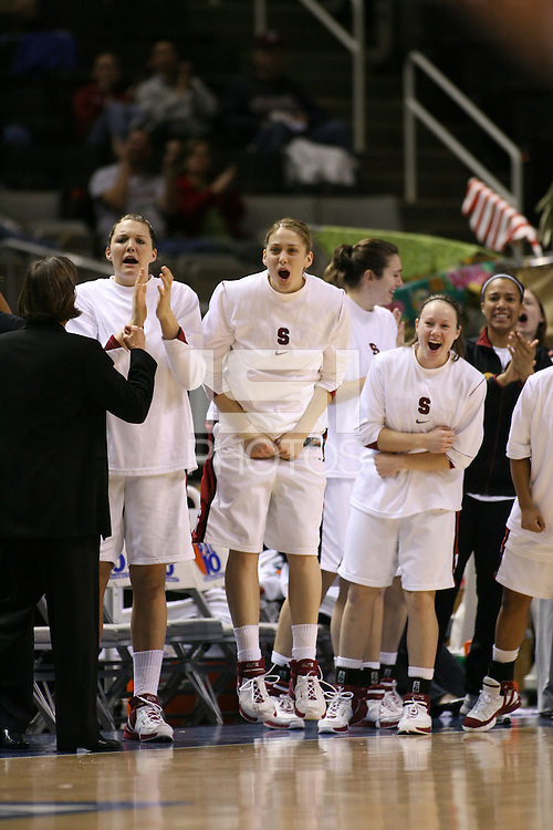 5 March 2007: Jayne Appel, Michelle Harrison, Clare Bodensteiner, Morgan Clyburn and Rosalyn Gold-Onwude during Stanford's 62-55 win over ASU in the finals of the women's Pac-10 tournament championship at HP Pavilion in San Jose, CA.