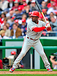 13 April 2009: Philadelphia Phillies' shortstop Jimmy Rollins at bat during the Washington Nationals' Home Opener at Nationals Park in Washington, DC. The Nats fell short in their 9th inning rally, losing 9-8, as the visiting Phillies handed the Nats their 7th consecutive loss of the 2009 season. Mandatory Credit: Ed Wolfstein Photo