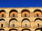 Symmetrical pattern of balconies in the historic Great Mosque Mezquita complex of buildings, Cordoba, Spain
