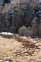 Stone wall ruins of Tyuonyi Pueblo, Bandelier National Monument, New Mexico, USA
