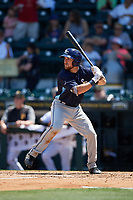 Charlotte Stone Crabs catcher Brett Sullivan (8) at bat during a game against the Bradenton Marauders on April 9, 2017 at LECOM Park in Bradenton, Florida.  Bradenton defeated Charlotte 5-0.  (Mike Janes/Four Seam Images)