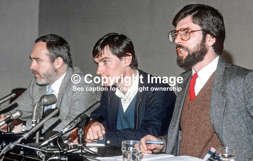Provisional Sinn Fein press conference following signing of Anglo-Irish Agreement - left to right - Danny Morrison, Brian McDonald, aka Brian MacDomhnaill, and Gerry Adams. 19851111GA1.<br /> <br /> Copyright Image from Victor Patterson,<br /> 54 Dorchester Park, Belfast, UK, BT9 6RJ<br /> <br /> t1: +44 28 90661296<br /> t2: +44 28 90022446<br /> m: +44 7802 353836<br /> <br /> e1: victorpatterson@me.com<br /> e2: victorpatterson@gmail.com<br /> <br /> For my Terms and Conditions of Use go to<br /> www.victorpatterson.com