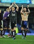 Andy King of Leicester City celebrates at the end of the game<br /> - Barclays Premier League - Everton vs Leicester City - Goodison Park - Liverpool - England - 19th December 2015 - Pic Robin Parker/Sportimage