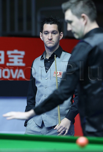 29.03.2016. Beijing, China,  Tom Ford of Britain reacts during the match against Kyren Wilson of Britain at the 2016 World Snooker China Open in Beijing, China, March 29, 2016.