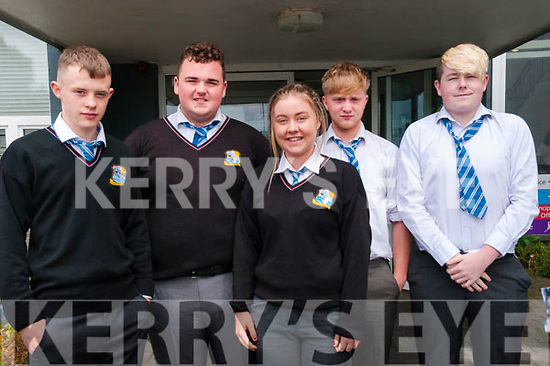 North Kerry College students who completed their first leaving cert  exam on Wednesday last. :L- R : Niall Stack, Killian O'Gorman, Eva Joy, Conor Hope & Keogh Barrett.
