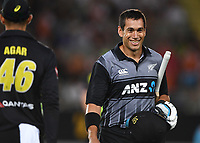 Ross Taylor is all smiles at the end of the innings.<br /> New Zealand Black Caps v Australia.Tri-Series International Twenty20 cricket final. Eden Park, Auckland, New Zealand. Wednesday 21 February 2018. &copy; Copyright Photo: Andrew Cornaga / www.Photosport.nz