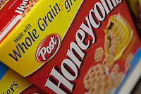A Post Honeycomb cereal box is seen in a Metro grocery store in Quebec city March 4, 2009. Selective focus on Post logo