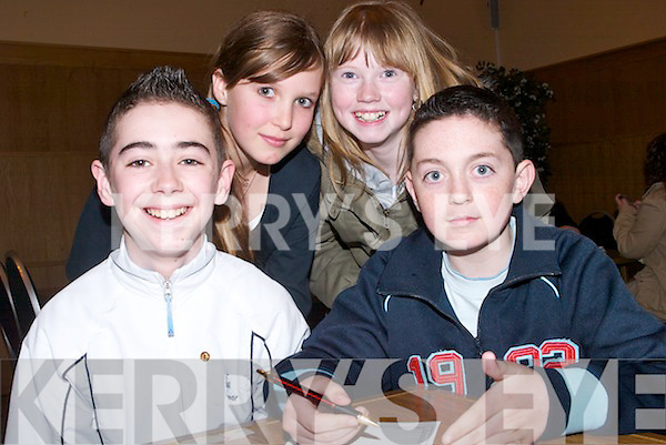 FINALS: Young pioneers from Clonkeen, Glenflesk, who played in the Munster Finals of the Pioneers Table Quiz at Ballyroe Heights Hotel, Tralee, on Sunday afternoon, l-r: Kieran Looney, Lauren Barton, Valerie O'Rahilly and Darragh Kelliher..