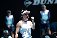 27th January 2020; Melbourne Park, Melbourne, Victoria, Australia; Australian Open Tennis, Day 8; Simona Halep of Romania celebrates her win during her match against Elise Mertens of Belgium