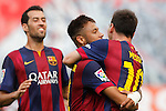 Barcelona´s Leo Messi celebrates a goal with Neymar Jr during La Liga match between Rayo Vallecano and Barcelona at Vallecas stadium in Madrid, Spain. October 04, 2014. (ALTERPHOTOS/Victor Blanco)
