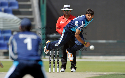 T20 World Cup Qualifying match - Scotland V Namibia at the Sheikh Zayed Stadium - Abu Dhabi - one of few Scotland reasons to cheer fell to the bowling of Safyaan Sharif on taking an early wicket - Sharif was Scotland's most economical bowler - Scotland lost by 49 runs - Picture by Donald MacLeod  14.3.12  07702 319 738  clanmacleod@btinternet.com