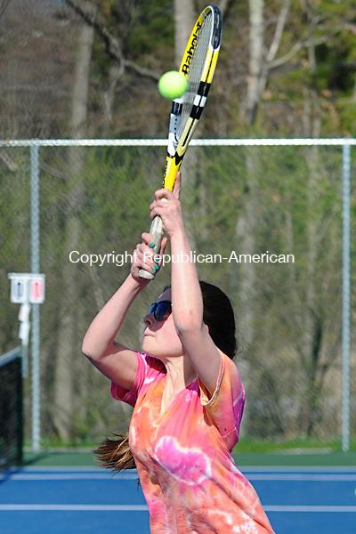 LITCHFIELD, CT - 30 April 2013-043013EC08--   Nonnewaug's Stephanie Gieralt in a doubles match with Sam DeMuro Tuesday against Litchfield. Erin Covey Republican-American.