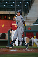 Adrian Damla (36) of the UC Irvine Anteaters bats against the Southern California Trojans at Dedeaux Field on April 18, 2017 in Los Angeles, California. UC Irvine defeated Southern California, 14-3. (Larry Goren/Four Seam Images)