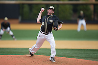 Wake Forest Demon Deacons starting pitcher Connor Johnstone (30) in action against the Miami Hurricanes at Wake Forest Baseball Park on March 22, 2015 in Winston-Salem, North Carolina.  The Demon Deacons defeated the Hurricanes 10-4.  (Brian Westerholt/Four Seam Images)