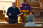 WOODBURY,  CT-031819JS07-Rev. John A. Thomason, Pastor of Woodbury United Methodist Church in Woodbury, welcomes those who came out for their community prayer vigil at the church on Monday. The event, hosted by the church's Prayer Ministry, offers church members , and the community, for a time of mediation and prayer <br /> Jim Shannon Republican American