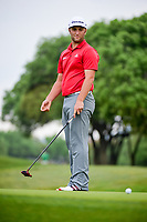 Jon Rahm (ESP) watches his putt on 1 during round 6 of the World Golf Championships, Dell Technologies Match Play, Austin Country Club, Austin, Texas, USA. 3/26/2017.<br /> Picture: Golffile | Ken Murray<br /> <br /> <br /> All photo usage must carry mandatory copyright credit (&copy; Golffile | Ken Murray)