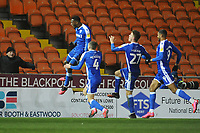 Gillingham's Brandon Hanlan celebrates scoring his side's third goal <br /> <br /> Photographer Kevin Barnes/CameraSport<br /> <br /> The EFL Sky Bet League One - Blackpool v Gillingham - Tuesday 11th February 2020 - Bloomfield Road - Blackpool<br /> <br /> World Copyright © 2020 CameraSport. All rights reserved. 43 Linden Ave. Countesthorpe. Leicester. England. LE8 5PG - Tel: +44 (0) 116 277 4147 - admin@camerasport.com - www.camerasport.com