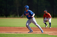 GCL Mets Ryan Shinn (46) leads off second base during a Gulf Coast League game against the GCL Astros on August 10, 2019 at FITTEAM Ballpark of the Palm Beaches Training Complex in Palm Beach, Florida.  GCL Astros defeated the GCL Mets 8-6.  (Mike Janes/Four Seam Images)