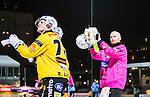 Stockholm 2014-12-19 Bandy Elitserien Hammarby IF - Broberg S&ouml;derhamn :  <br /> Broberg S&ouml;derhamns m&aring;lvakt Henrik Rhenvall tackar Broberg S&ouml;derhamns supportrar efter matchen mellan Hammarby IF och Broberg S&ouml;derhamn <br /> (Foto: Kenta J&ouml;nsson) Nyckelord:  Elitserien Bandy Zinkensdamms IP Zinkensdamm Zinken Hammarby Bajen HIF Broberg S&ouml;derhamn jubel gl&auml;dje lycka glad happy