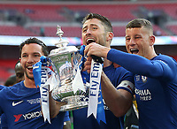 Chelsea's Gary Cahill, Ross Barkley and Danny Drinkwater with the trophy<br /> <br /> Photographer Rob Newell/CameraSport<br /> <br /> Emirates FA Cup Final - Chelsea v Manchester United - Saturday 19th May 2018 - Wembley Stadium - London<br />  <br /> World Copyright &copy; 2018 CameraSport. All rights reserved. 43 Linden Ave. Countesthorpe. Leicester. England. LE8 5PG - Tel: +44 (0) 116 277 4147 - admin@camerasport.com - www.camerasport.com