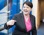 © Joel Goodman - 07973 332324 . 04/10/2016 . Birmingham , UK . RUTH DAVIDSON crosses the bridge from the hotel to the conference venue during the third day of the Conservative Party Conference at the International Convention Centre in Birmingham . Photo credit : Joel Goodman