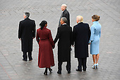 Former United States President Barack Obama and Michelle Obama stand with US resident Donald Trump and Melania Trump at the 2017 Presidential Inauguration at the US Capitol in Washington, DC on January 20, 2017.<br /> Credit: Jack Gruber / Pool via CNP