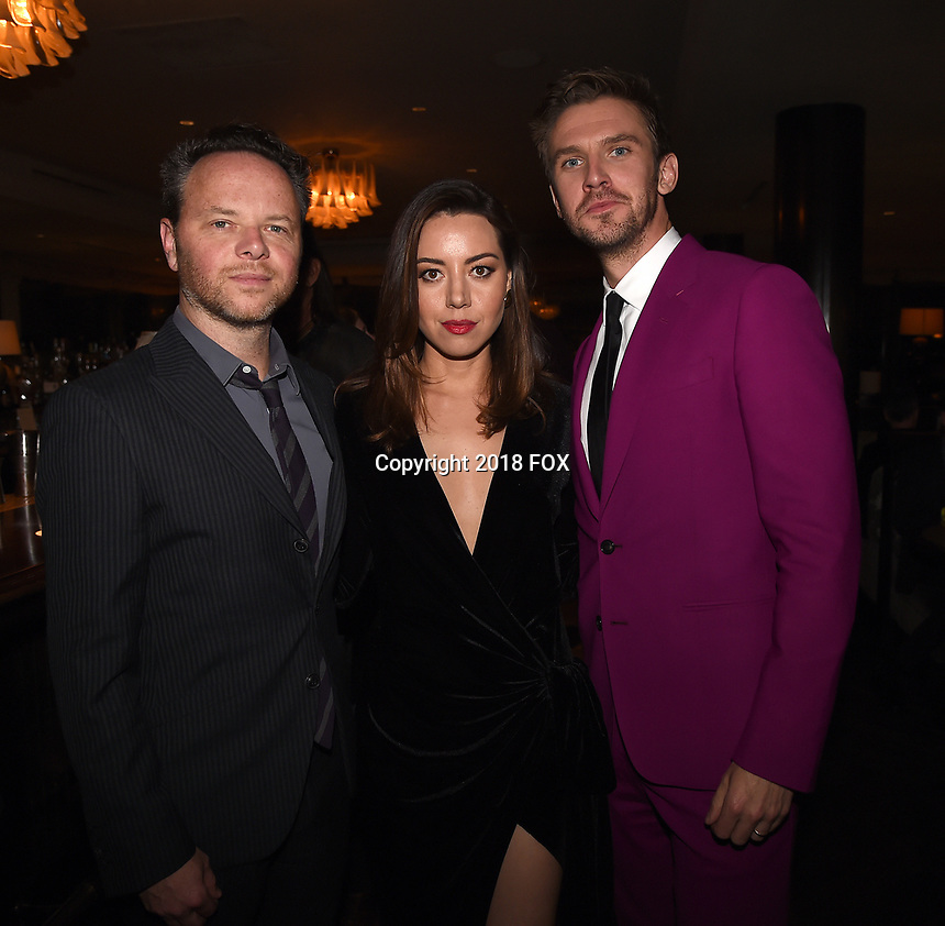 """LOS ANGELES, CA - APRIL 2: Creator/Executive Producer/Writer/Director Noah Hawley, Aubrey Plaza, and Dan Stevens attend the party for the season two premiere of FX's """"Legion"""" at the Soho House on April 2, 2018 in Los Angeles, California. (Photo by Frank Micelotta/FX/PictureGroup)"""