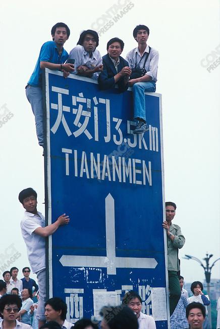 Pro-democracy student demonstrations, Tiananmen Square, Beijing, China, May 1989