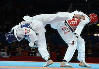 Carlo Molfetta Italia Gold Medal Blue, Anthony Obame Ghana Silver Medal Red.Taekwondo Men's +80kg.London 11/8/2012 ExCel South Arena 2.London 2012 Olympic games - Olimpiadi Londra 2012.Foto Augusto Bizzi Insidefoto