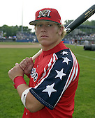 July 4, 2004:  Jason Crosland of the Batavia Muckdogs, Short-Season Single-A affiliate of the Philadelphia Phillies, during a game at Dwyer Stadium in Batavia, NY.  Photo by:  Mike Janes/Four Seam Images