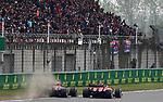 14.04.2019, Shanghai Audi International Circuit, Shanghai, 2019 FORMULA 1 HEINEKEN CHINESE GRAND PRIX<br /> im Bild<br />Max Verstappen (NEL#33), Aston Martin Red Bull Racing &uuml;berholt Sebastian Vettel (GER#5), Scuderia Ferrari<br /> <br /><br /> <br /> Foto &copy; nordphoto / Bratic