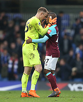 West Ham United's Joe Hart celebrates with Patrice Evra at the end of the game<br /> <br /> Photographer Rob Newell/CameraSport<br /> <br /> The Premier League - Chelsea v West Ham United - Sunday 8th April 2018 - Stamford Bridge - London<br /> <br /> World Copyright &copy; 2018 CameraSport. All rights reserved. 43 Linden Ave. Countesthorpe. Leicester. England. LE8 5PG - Tel: +44 (0) 116 277 4147 - admin@camerasport.com - www.camerasport.com