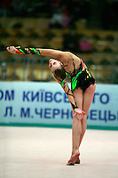 "Valeria Shurkhal of Ukraine body waves with clubs at 2008 World Cup Kiev, ""Deriugina Cup"" in Kiev, Ukraine on March 22, 2008."