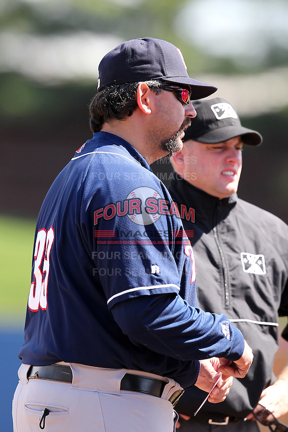 New Hampshire Fisher Cats manager Sal Fasano #33 exchanges lineup cards before a game against the Reading Phillies at FirstEnergy Stadium on May 5, 2011 in Reading, Pennsylvania.  New Hampshire defeated Reading by the score of 10-5.  Photo By Mike Janes/Four Seam Images