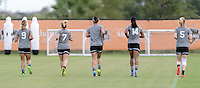 Houston, TX - Thursday Oct. 06, 2016: Lynn Williams, McCall Zerboni, Abby Erceg, Jessica McDonald, Samantha Mewis during training prior to the National Women's Soccer League (NWSL) Championship match between the Washington Spirit and the Western New York Flash at BBVA Compass Stadium.