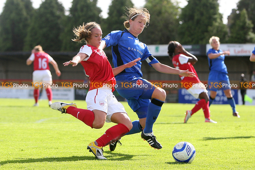 Jordan Nobbs of Arsenal is challenged by Casey Stoney of Lincoln - Arsenal Ladies vs Lincoln Ladies - FA Womens Super League Continental Tyres Cup Semi-Final at Boreham Wood FC - 11/09/11 - MANDATORY CREDIT: Gavin Ellis/TGSPHOTO - Self billing applies where appropriate - 0845 094 6026 - contact@tgsphoto.co.uk - NO UNPAID USE.