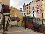 Requena-Valencia-Spain, January 09, 2018; <br /> public space in the old town - historic centre;<br /> Photo © HorstWagner.eu