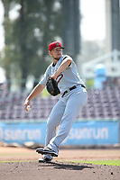 Ryan Atkinson (14) of the Visalia Rawhide pitches against the Inland Empire 66ers at San Manuel Stadium on June 5, 2017 in San Bernardino, California. Visalia defeated Inland Empire, 9-1. (Larry Goren/Four Seam Images)