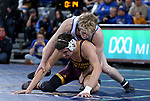 SIOUX FALLS, SD - NOVEMBER 11: Henry Pohlmeyer from South Dakota State battles with Josh Marucu from Arizona State during their 149 pound match Sunday afternoon at the Sanford Pentagon in Sioux Falls, SD.  (Photo by Dave Eggen/Inertia)