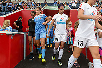Bridgeview, IL - Sunday August 20, 2017: Sofia Huerta, Sydney Leroux Dwyer during a regular season National Women's Soccer League (NWSL) match between the Chicago Red Stars and FC Kansas City at Toyota Park. KC Kansas City won 3-1.