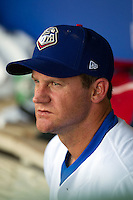 Texas Rangers pitcher Roy Oswalt #51 in the dugout before his rehab assignment with the Round Rock Express during the Pacific Coast League baseball game against the Albuquerque Isotopes on June 2, 2012 at The Dell Diamond in Round Rock, Texas. (Andrew Woolley/Four Seam Images).