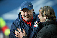 Coventry City Manager Russell Slade welcomes Wycombe Wanderers Manager Gareth Ainsworth during the The Checkatrade Trophy - EFL Trophy Semi Final match between Coventry City and Wycombe Wanderers at the Ricoh Arena, Coventry, England on 7 February 2017. Photo by Andy Rowland.