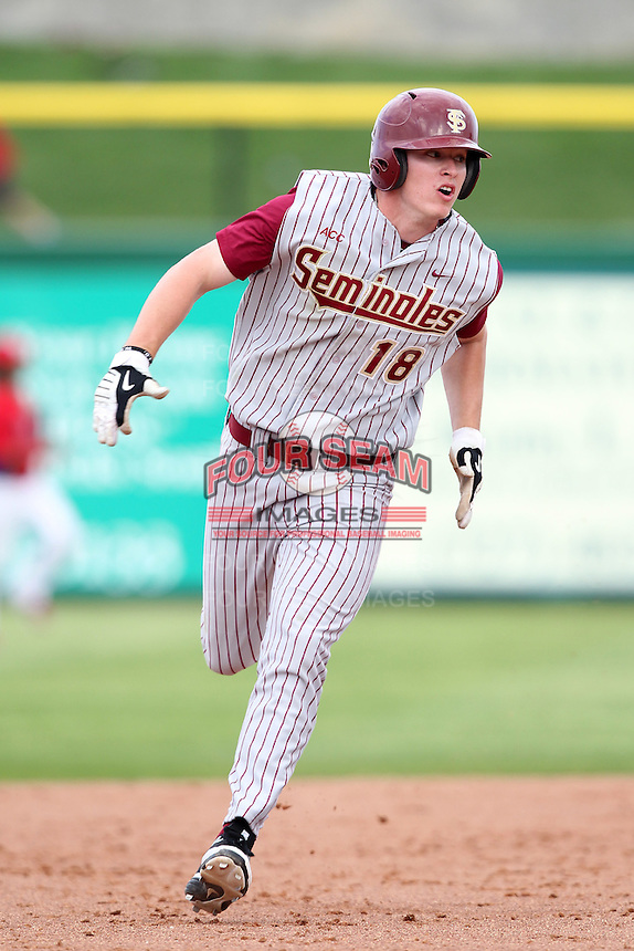 Florida State Seminoles Seth Miller #18 during a scrimmage vs the Philadelphia Phillies  at Bright House Field in Clearwater, Florida;  February 24, 2011.  Philadelphia defeated Florida State 8-0.  Photo By Mike Janes/Four Seam Images
